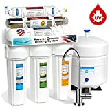Express Water ROUV5M 6-Stage UV Ultraviolet Reverse Osmosis Home Drinking Water Filtration System, Modern Chrome Faucet, 50 GPD