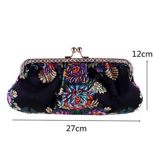 Flower Clutch Handbag Handmade Embroidery Black Party Dress MSFS Wedding Shoulder Women's Evening HzwZqZ