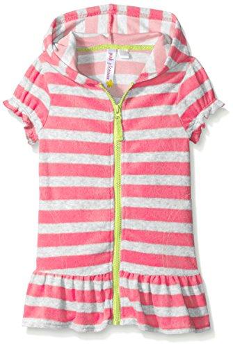 Pink Platinum Girls' Striped Zip Swim Cover-up