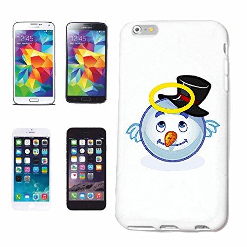 """cas de téléphone iPhone 5C """"sourire de EMOTICON de SNOWMAN MERRY SMILEY AVEC HALO """"SMILEYS SMILIES ANDROID IPHONE EMOTICONS IOS APP"""" Hard Case Cover Téléphone Covers Smart Cover pour Apple iPhone en b"""
