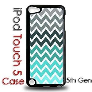 IPod 5 Touch Black Plastic Case - Teal Grey Chevron Stripes Fade
