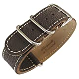 Fluco Germany 2-Piece MoD Military G10 22mm Brown Leather Mens Watch Strap …