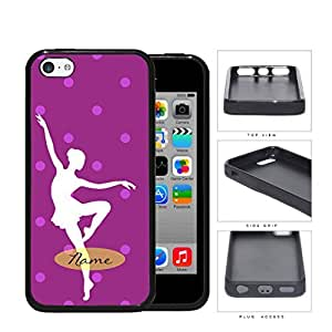 Ballerina Silhouette Monogram With Polka Dots Violet Rubber Silicone TPU Cell Phone Case Apple iPhone 5c