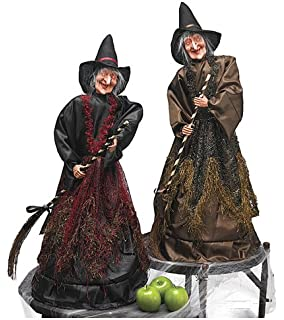 2 shrieking cackling moving animated light up witches halloween decoration - Halloween Witch Decoration