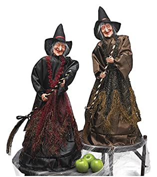 2 shrieking cackling moving animated light up witches halloween decoration