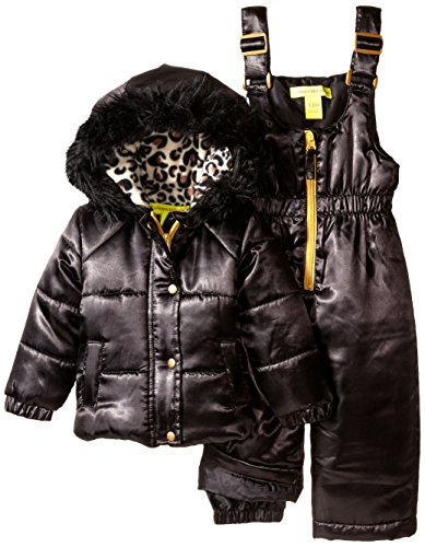 (Catherine Malandrino Baby Girls' 2 Piece Snowsuit Set, Black, 12 Months)