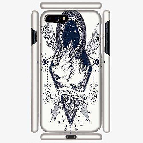 Phone Case Compatible with 3D Printed iPhone 7 Plus/iPhone 8 Plus DIY Fashion Picture,Tattoo Style with Crossed Arrows and Astrological,Hard Plastic Phone Back Cover Shell Protective -