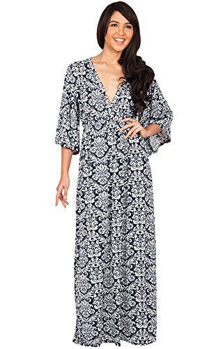 (KOH KOH Petite Womens Long Kimono 3/4 Sleeve Sleeves Sexy Print Empire Waist Casual Summer Fall Winter Maternity Flowy Modest Abaya Gown Gowns Maxi Dress Dresses, Navy Blue and White S 4-6 (1))