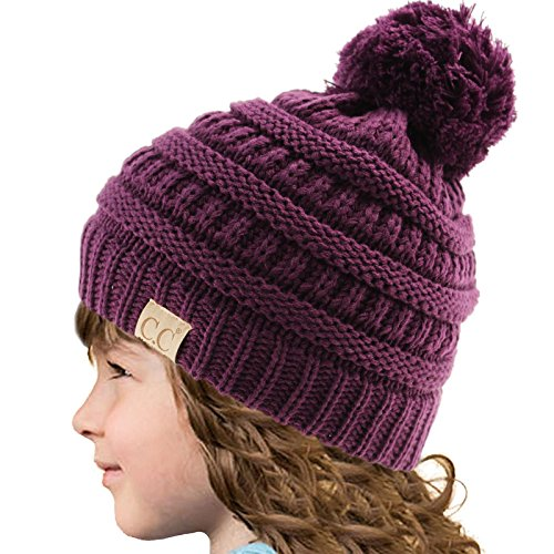 Kids CC Ages 2-7 PomPom Chunky Thick Stretchy Knit Slouch Beanie Cap Hat Purple