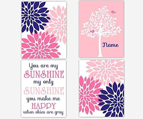 Navy Blue Pink Nursery Art You Are My Sunshine Flowers Birds Personalize Tree Pink Baby Nursery Decor Mums Dahlia Baby Girl Wall Decor Print SET OF 4 UNFRAMED PRINTS Dahlia Tree