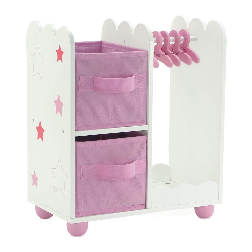 "Emily Rose 14 Inch Doll Furniture | Pink Doll Armoire/Closet with Star Detail Comes with 5 Doll Clothes Hangers | Fits 14"" American Girl Wellie Wishers Dolls"