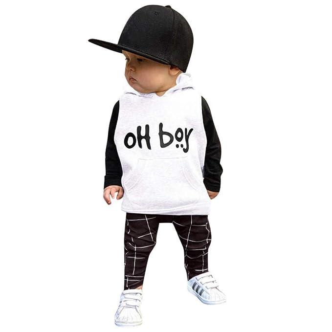 QinMM Bambino Piccolo Infantile Bambino Ragazze Ragazzi Vestiti Set Lettera  Tops + Pantaloni Outfit  Amazon.it  Abbigliamento c355af2c5a1
