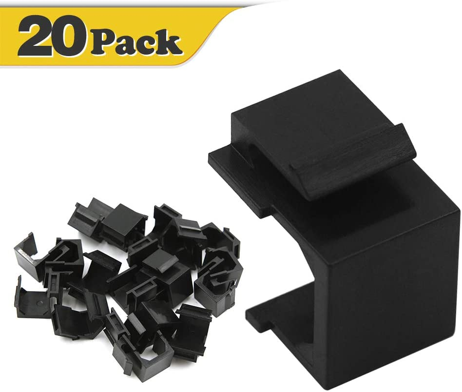 VCE 20-Pack Blank Keystone Jack Inserts for Wallplate Black