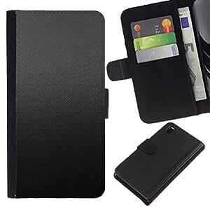 Protector de cuero de la PU de la cubierta del estilo de la carpeta del tirón BY RAYDREAMMM - Sony Xperia Z3 D6603 - Patrón Gris Tela