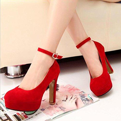 Da Scarpe Scarpe zycShang Con Alla Cinturino Caviglia Sposa Alto Donna rossa Scarpe Scarpe Tacco Scarpe Da Donna Da Casual Con EEn0awfq