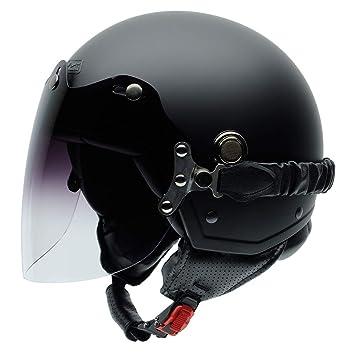 NZI 050326G429 Tonup Visor Matt Black Casco De Moto, Color Negro Mate, Talla 58