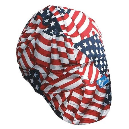 Welding Cap, Color Red/White/Blue, 7-3/8