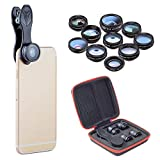 4K Camera Lens Kit 10 in 1 Clip on Universal Phone Lens Kit Wide Angle 0.36 Micro 15X Phone Camera Lens For iPhone 8, 7 Plus/7/6s Plus/6s/Samsung Mobile Phones and Tablets
