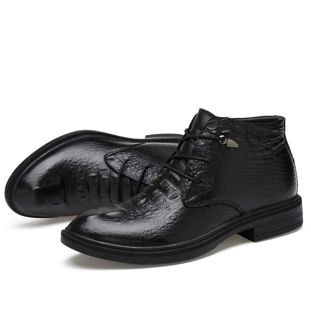 HILOTU Klassische Party Schuhe, Schuhe, Schuhe, Herren Stiefeletten Casual Grade Crocodile Print OX Leder High Top Formelle Schuhe (Warmer Samt optional) (Farbe   Schwarz, Größe   48 EU) ba31f9