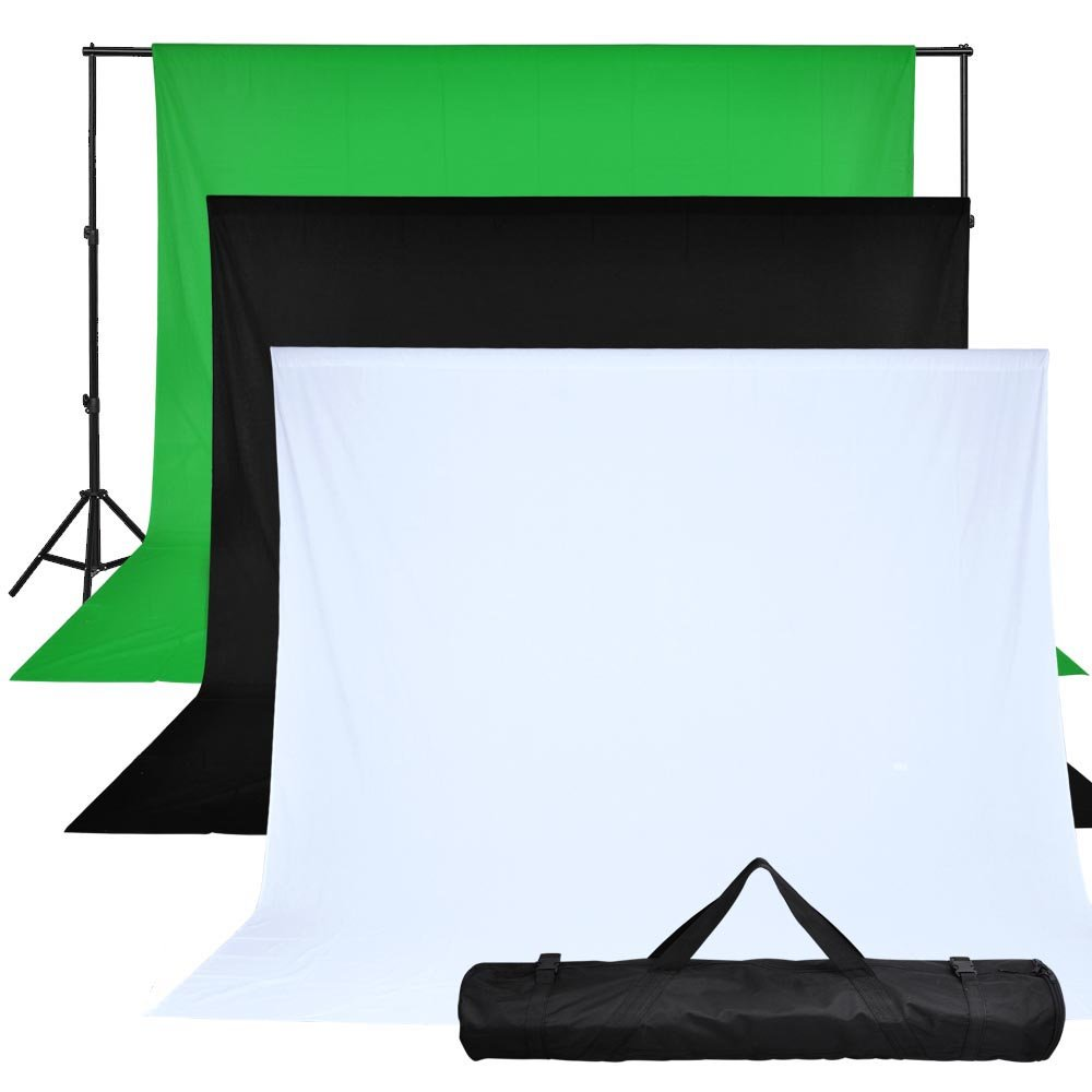 10' Adjustable Background Stand Kit with Chromakey Screen Muslin Black White Backdrop 10ft X 10ft by AW