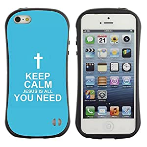 Jesus Designs Premium Hybrid Back Case Cover Apple iPhone 5 / 5S - KEEP CALM - JESUS IS ALL YOU NEED -