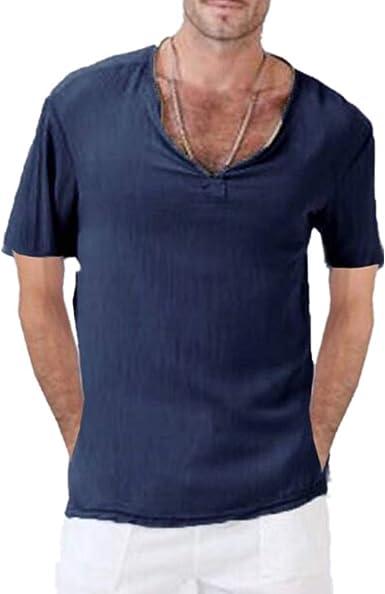 Fansu Camisa Hombre Lino, Manga Corta Verano Blusa Top Sin Cuello De Color Sólido Suelta Camisas De Trabajo Suave Cómodo Transpirable Casual Playa Hombres: Amazon.es: Ropa y accesorios
