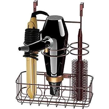 Simple Houseware Cabinet Door/Wall Mount Hair Dryer & Styling Tools Organizer Storage, Bronze