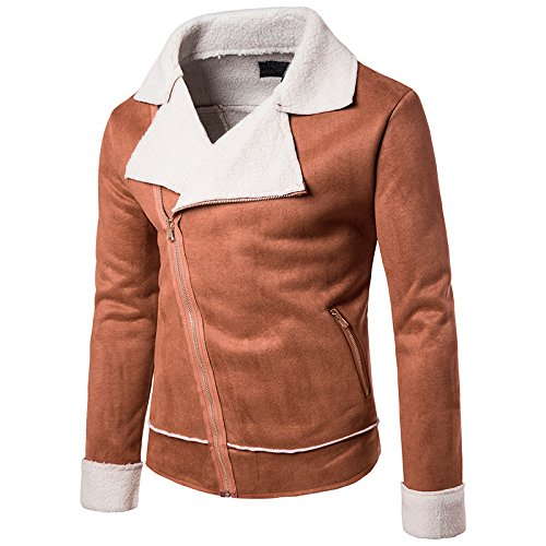 Composito Collare xl Personalità Giacca Corpo Casual Uomo end Camicia Marrone Maniche Grande High Zip Al Elegante xTXUnqw