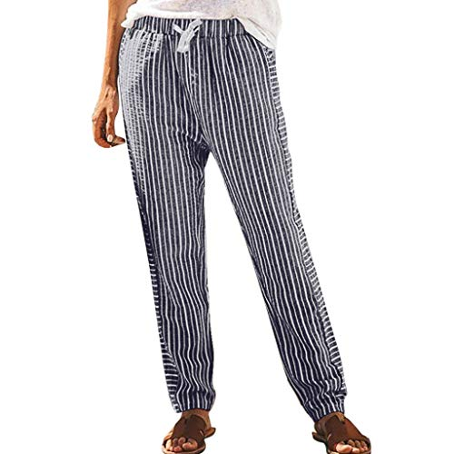 HEJANG Women's Long Casual Style High Waist Trouser Stripe Pocket Loose Pants 2019 (M, Navy)