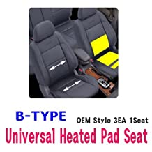 ACTION CAR Universal Heated Pad Kit 3EA 1Seat B TYPE Heater Car Truck SUV 3Way LED Switch
