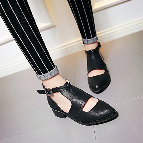 MissSaSa Damen Chunky heel Pointed Toe Knöchelreimchen T-Spange Pumps bequem und simpel Blockabsatz Schnalle Kleidschuhe Schwarz