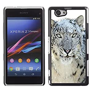 Design for Girls Plastic Cover Case FOR Xperia Z1 Compact D5503 Snow Leopard Tiger Furry Winter Animal OBBA