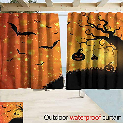 MaryMunger Simple Curtain Halloween Fantasy Evil Night Icons Rod Pocket Curtain Panels W72x63L Inches