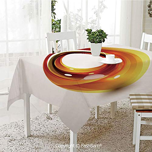FashSam Party Decorations Tablecloth Orange Swirl with Ombre Design Elements Vivid Ball Curvy Figure Decorative Dining Room Kitchen Rectangular Table Cover(W60 xL84) ()