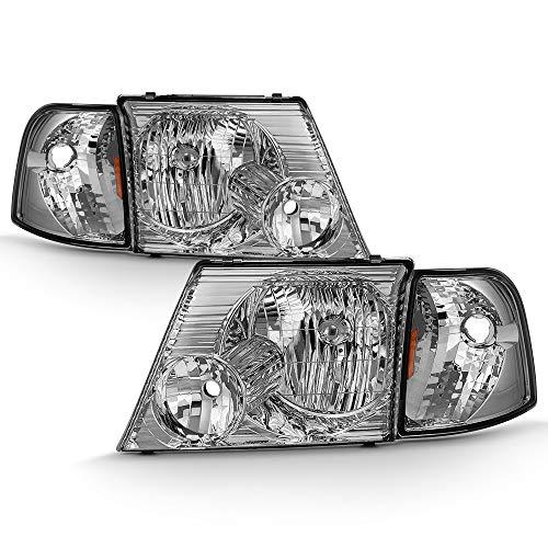 ACANII - For Chrome 2002-2005 Ford Ford Explorer Headlights+Corner Signal Lights Head Light Lamp Driver + Passenger ()