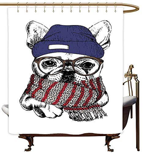 (MaryMunger Polyester Shower Curtain Bulldog Hand Drawn Style Portrait of Cozy Winter Dog Wearing a Scarf Beanie and Glasses Shower Curtain bar W94x72L Multicolor)