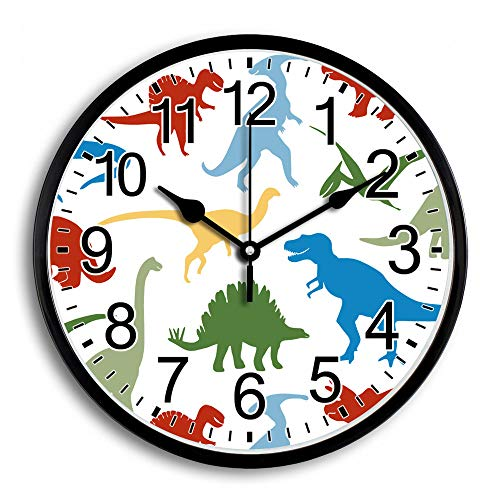 assic Glass Cover Plastic Frame Battery Operated Arabic Number Colorful Dinosaur Animals Home/School/Office Non Ticking Silent Quartz Large Round Wall Clock Diameter 10 Inch ()