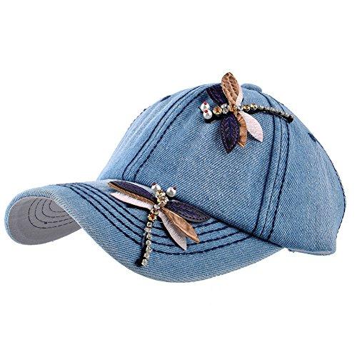 - Elonmo Cute Big Butterfly Dragonfly Baseball Cap Jewel Rhinestone Bling Hats Jeans Wash Denim (Dragonfly-Light Blue)