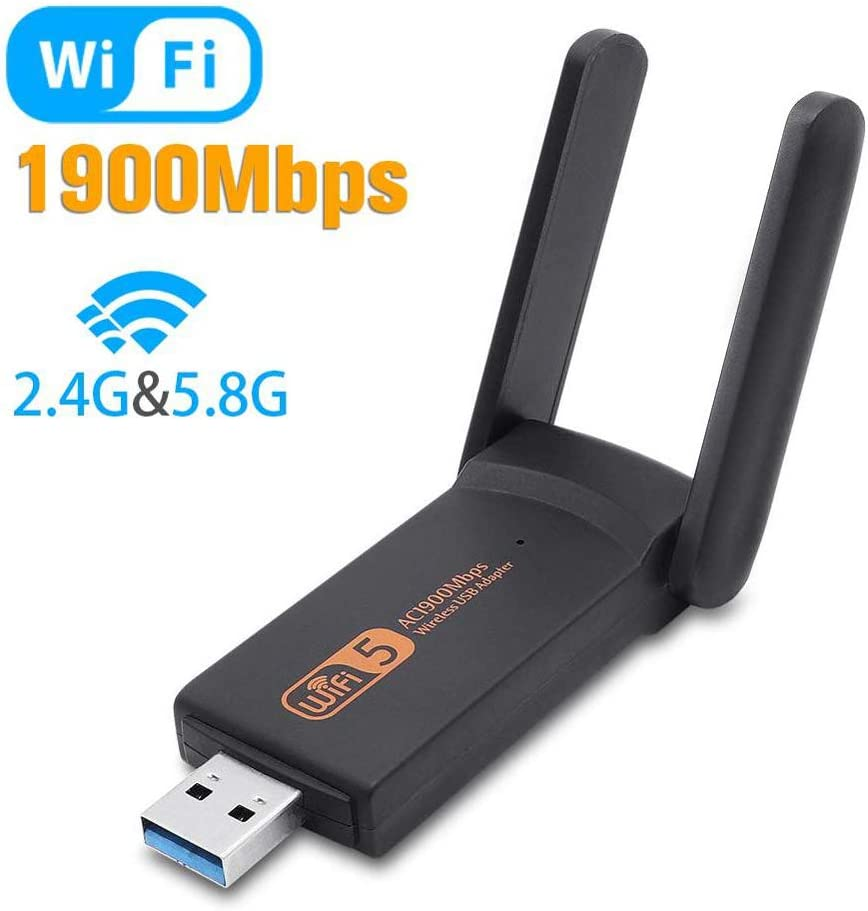 KuWFi USB3.0 WiFi Adapter 1900Mbps Dual Band 2.4Ghz + 5.8Ghz Wi-fi Dongle Computer 802.11AC Network Card with 2 Antennas Hi-Speed