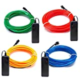On'h EL Wire 4 Pack - 15ft Neon Rope Lights Kit Battery Operated for Party Indoor Outdoor Decoration - Red, Green, Blue, Yellow (15ft, Blue/Red/Green/Yellow)