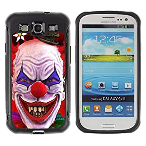 SHIMIN CAO@ Clown Evil Smile Devil Red Eyes Creepy Rugged Hybrid Armor Slim Protection Case Cover Shell For S3 Case ,I9300 Case Cover ,I9308 case ,Leather for S3 ,S3 Leather Cover Case