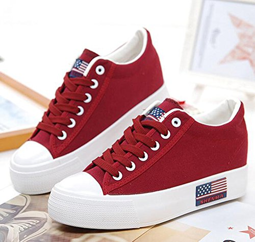 Up Sneakers Top Low Canvas Toe Hidden Low Easemax Round Red Heel Womens Trendy Lace 7qwxICS