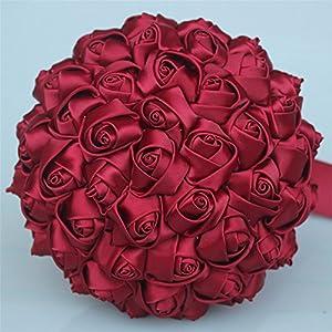 USIX Handcraft Solid Color Popular Satin Rose Bridal Holding Wedding Bouquet Wedding Flower Arrangements Bridesmaid Bouquet(Dark Red) 21