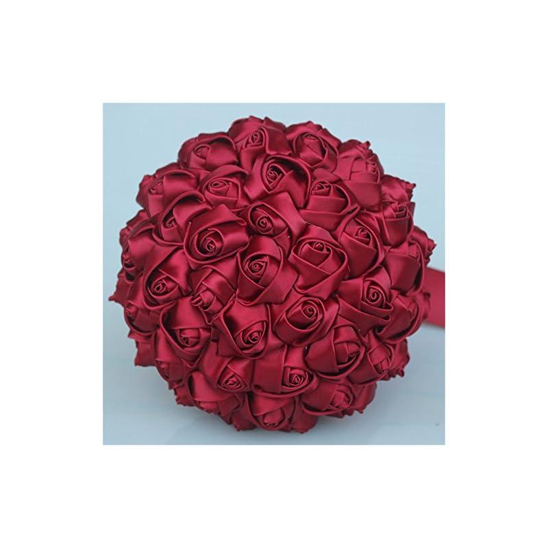silk flower arrangements usix handcraft solid color popular satin rose bridal holding wedding bouquet wedding flower arrangements bridesmaid bouquet(dark red)