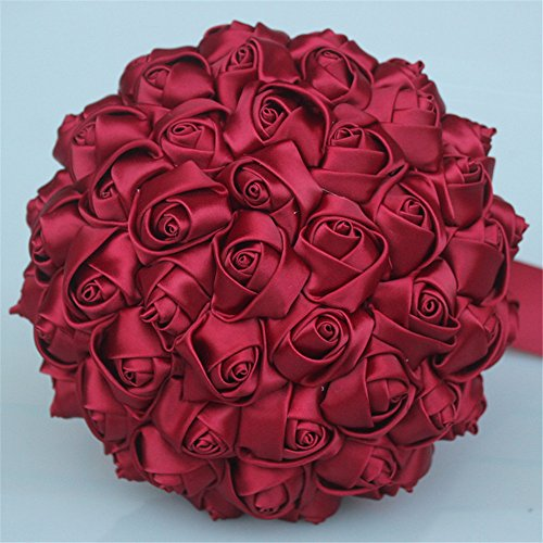 (USIX Handcraft Solid Color Popular Satin Rose Bridal Holding Wedding Bouquet Wedding Flower Arrangements Bridesmaid Bouquet(Dark Red))
