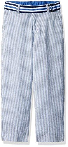Izod boys Belted Seersucker Flat Front Dress Pant, Seersucker Blue, 6