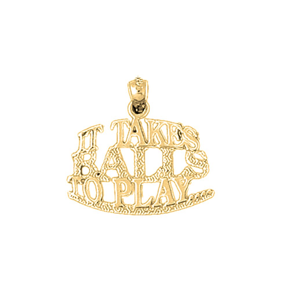 Jewels Obsession Saying Necklace 14K Yellow Gold-plated 925 Silver It Takes Balls To Play Saying Pendant with 16 Necklace