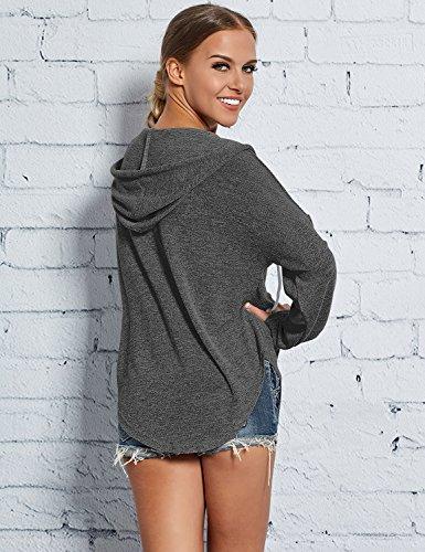 Ezcosplay Women Deep V Neck Solid Pullover Drawstring Loose Sweatshirt Hoodies (XXL, Dark Grey) by Ezcosplay (Image #3)