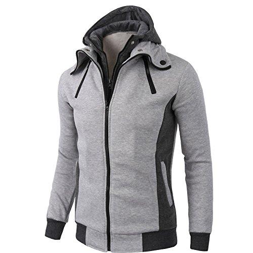 Kool Classic Men's Cotton Double Full Zippered Fleece Hoodie Coat Jacket Light Grey XL
