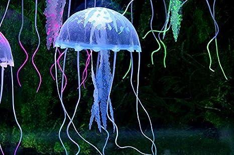 Romote domire Azul Brillante Efecto de la Medusa Falsa Artificial para la decoración del Ornamento del Acuario: Amazon.es: Hogar
